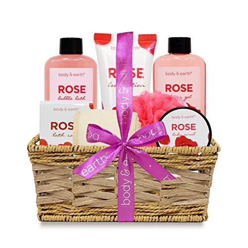 Bath Spa Geschenke für Frauen, Body & Earth Bad Spa Korb Luxuriöses 7-teiliges Bad Body Set mit Rose duftendem Duschgel, Körperlotion, Körperpeeling, Schaumbad, Badesalz, Badeschwämme -