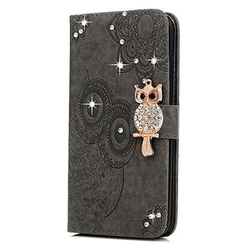 """MAXFE.CO Schutzhülle Tasche Case für iPhone 7 Plus 5.5"""" PU Leder Innen Schale Flip Tasche Cover Prägung Eule mit Diamanten im Ständer Book Case / Kartenfach Rose Gold Grau"""