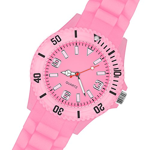 Taffstyle Neon Leuchtend Silikonuhr Sportuhr Armbanduhr Silikon Sport Watch Analog Quarz Damen Herren Uhr Rosa