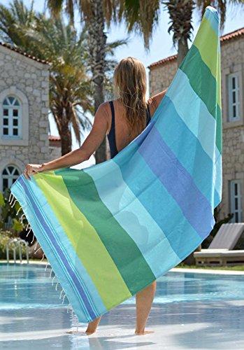 Fouta Drap de Hammam xl CASABLANCA 100x190 cm - Grande Serviette de Plage 100% Coton de Grande Qualité - Design Unique de ZusenZomer (Vert Bleu Turquoise)