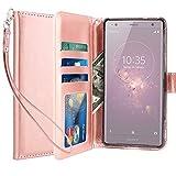 Coque Sony Xperia XZ2, LK Housse Coque Protecteur Clapet Portefeuille Cuir PU Luxe avec Fentes et Support de Carte - Rose
