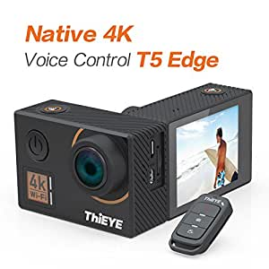 ThiEYE Action Camera 20MP 4K WiFi Underwater 60M Waterproof Sports Cam 170° Wide Angle Lens with with EIS, APP & Voice Remote Control, and Mounting Accessories Kits(T5 Edge)