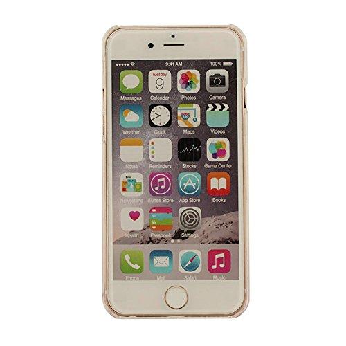 Etui iPhone 6S, Dur Coque pour iPhone 6 / 6S 4.7 inch, Transparent iPhone 6S Case, Design creative Écoulement Liquide Natation Poissons Mer désign Coque avec 1 Métal pendentif cyan