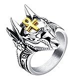 ALEXTINA Herren Edelstahl Uralt ägyptisch Ankh Kreuz Anubis Ring Wolf Statement Ring Größe 65