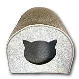 SUPMO Katzenhütte - CAT HEAD | Der Rückzugsort für Ihre Katze | Öffnung geformt wie ein Katzenkopf | Filz GRAU| Katzenhöhle ca. 40x 40cm