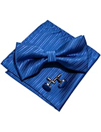 Barry.Wang Solid Ties Set Pocket Square Cufflinks Stripe Necktie Classic