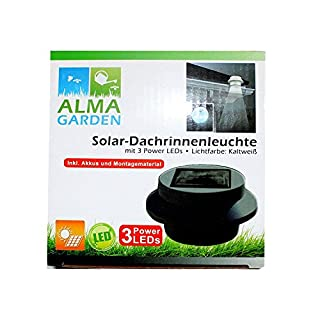 4 Stück Solar Dachrinnenleuchte LED Kaltweiß (Schwarz 4 Stück)