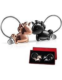 Foonii 1 par Parejas Llaveros, magnética Desmontable Auto Llaveros, Llaveros con Boca magnética, para Amantes Mujer Hombre (Negra + Oro Rosa)