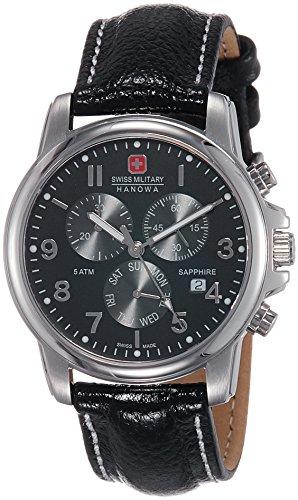 Swiss Military Swiss Soldier Chrono Prime 6-4233.04.007–Reloj de Cuarzo para Hombre con cronógrafo para Hombre Mecanismo de Cuarzo, Esfera Negra y Correa de Cuero Negro