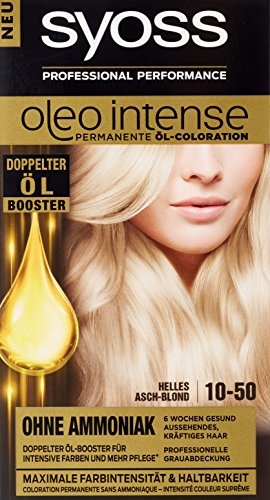 Syoss Oleo Intense Haarfarbe, 10-50 Helles Aschblond, 3er Pack (3 x 115 ml)