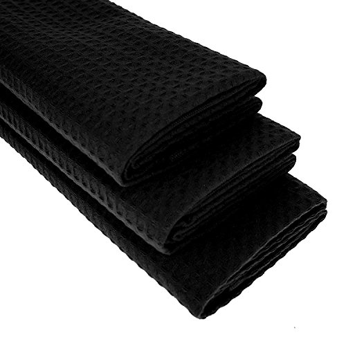 3 Schwarze Küchentücher - 100% Baumwolle/Waffel-Muster/Geschirrtuch / Putztuch/Küchentuch / Handtuch/schwarz