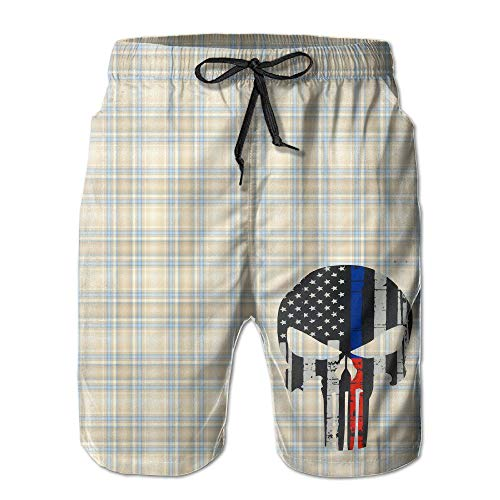 Naiyin Boys Men's American Flag Line Skull Summer Quick-Drying Swim Trunk Shorts Pants (M)