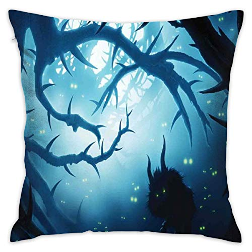 Soft Decorative Square Throw Pillow Case Cushion Covers Animal with Burning Eyes In The Dark Forest at Night Horror Halloween Illustrationfor Livingroom Bedroom with Invisible Zipper 18X18 Inch