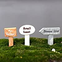 BESTIM INCUK 3-Piece Miniature Fairy Garden Ornament Road Signs