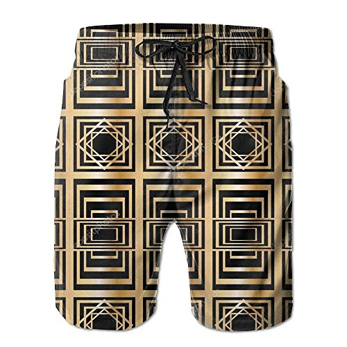 Linkla Danniol Mens Retro Abstract Geometry Humor Cargo Shorts Quick Dry Beach Shorts Large