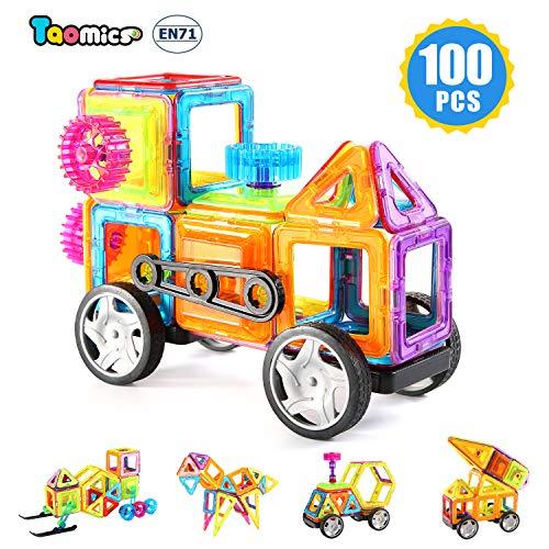 Taomics 100PCS Magnetische Bausteine, pädagogische Spielwaren der Kinder für das Entwickeln der Fantasie-Kreativität und räumliches Denken, 3D freier BAU-Gebäude-Fliesen Set