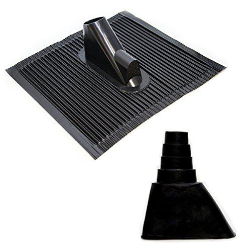 Dachabdeckung mit Kabeleinführung Alu-Dachziegel Schwarz Dach Montage Abdeckung Ziegel Dachpfanne für Sat Dachsparrenhalter + Universal Gummimanschette Schwarz