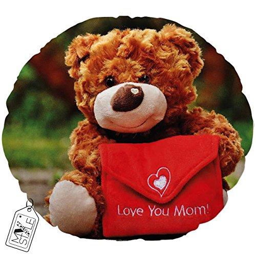 "My Custom Style® Kopfkissen Typ ""Muttertag–Teddybär Love You Mom rund, Handar"