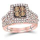 Juego de anillos de compromiso de oro rosa de 10 quilates con...