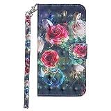 BONROY Hülle,Handyhülle [Premium Leder] [Standfunktion] [Kartenfach] [Magnetverschluss] Leder Brieftasche für iPhone 6 Plus/6S Plus (5.5 Zoll)-(RX-3D gemalte Rose)