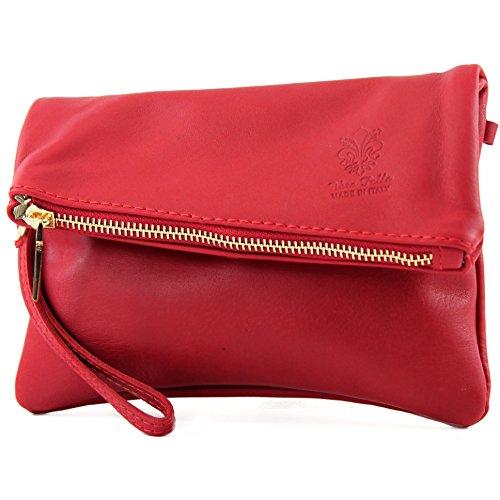 modamoda de -. ital petites dames de sac d'épaule de sac en cuir d'embrayage poignet Sac en cuir T95, Präzise Farbe (nur Farbe):Kirschrot