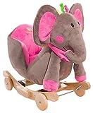Peluche type cheval à bascule avec roues, bascule et effets sonores...