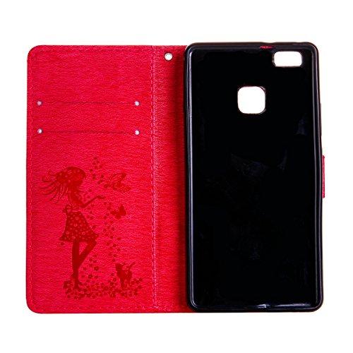 Coque Huawei P9 Lite en Cuir,Housse de Protection pour Huawei P9 Lite,Ekakashop Retro Herbe Verte Rabat Bling Shiny Brillant Shell Couvercle Housse Etui avec Motifs de Femmes et Chat Mignon Tendance S Rose Rouge