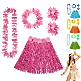 Bastrock Blumenkette Hawaii Hula Set rosa Hawaikette Baströckchen Limbo Party Outfit Südsee Kostüm Zubehör Strandparty Beachparty