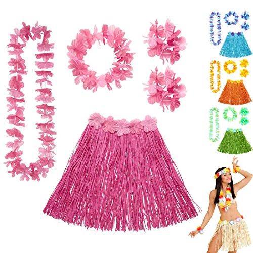 Bastrock Blumenkette Hawaii Hula Set rosa Hawaikette Baströckchen Limbo Party Outfit Südsee Kostüm Zubehör Strandparty Beachparty