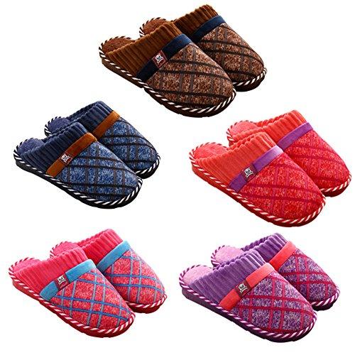 Meijunter Komfort Weich Zuhause Baumwolle Schuhe Indoor Non-slip Hausschuhe Warm Brown