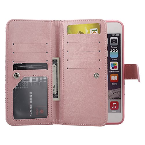 iPhone 6 Plus Hülle,iPhone 6S Plus Hülle, SainCat Ledertasche Brieftasche im BookStyle PU Leder Muster Hülle Wallet Case Folio Schutzhülle Bumper Handytasche Backcover Handy Tasche Flip Cover Buchstil Pink Love