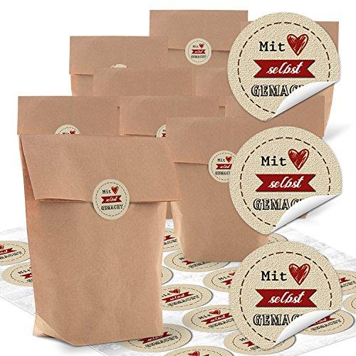 24 kleine braune Kreuzbodenbeutel 16,5 x 26 x 6,6 cm + 24 schwarz beige Aufkleber 4 cm MIT LIEBE rotes HERZ selbst GEMACHT - Verpackung selbstgemachte Geschenke DIY Kraftpapier Look