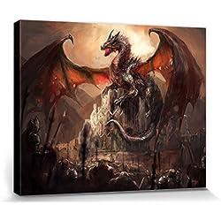 Dragones - Un Castillo Conquistado Por Un Dragón Cuadro, Lienzo Montado Sobre Bastidor (50 x 40cm)