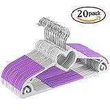 Yoassi Herzförmiges Design Kleiderbügel 20 Stück Antirutsch Violett Platzsparend für Kleidung/Anzug/Jacke/Krawatte aus Hochwertigem Kunststoff Um 360° drehbarer Haken