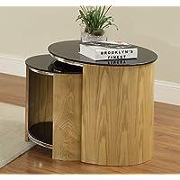 Jual JF305 Oak Real Wood Veneer & Glass Nest Tables