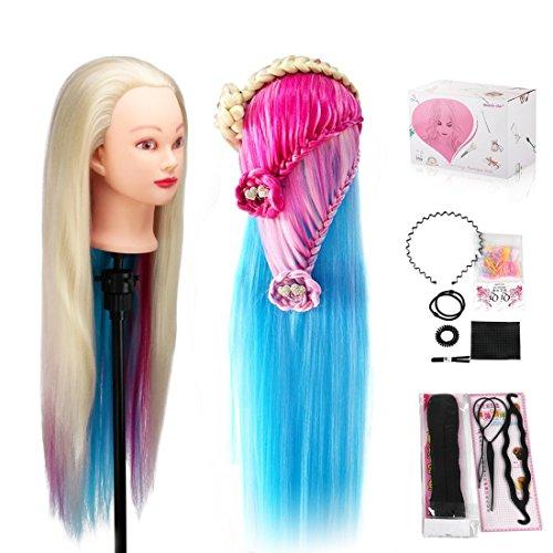 Beauty Star 75 cm Tête à Coiffer Coiffure longs 100% Fibre de Haute Température Cheveux longs Mannequin de Formation de coiffure de cheveux synthétiques avec pince de support et cadeaux