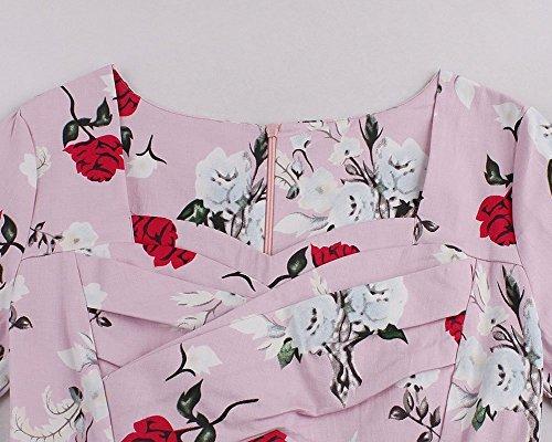 YiLianDa Donna Vintage Stile Manica Corta con Stampa Floral Rockabilly Partito Swing Vestito con Cintura Rosa