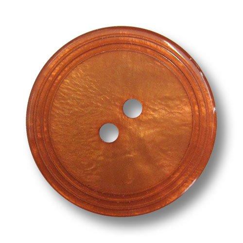 Knopfparadies 8er Set schöne flache apricotfarbene Zweiloch Kunststoffknöpfe mit Perlmutt Schimmer und drei Zier-Rillen am Rand/Perlmuttartig Dunkel Apricot bis Orange/Kunststoff Knöpfe/Ø ca. 20mm - Apricot-schimmer