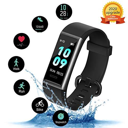 kungix orologio fitness tracker, smartwatch activity tracker uomo donna cardiofrequenzimetro da, polso impermeabile ip68 smartband braccialetto per android ios xiaomi huawei