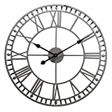 Clifford James Horloge Murale de Jardin Grande Intérieur/extérieur résistant aux intempéries Chiffres Romains, 60cm Gris