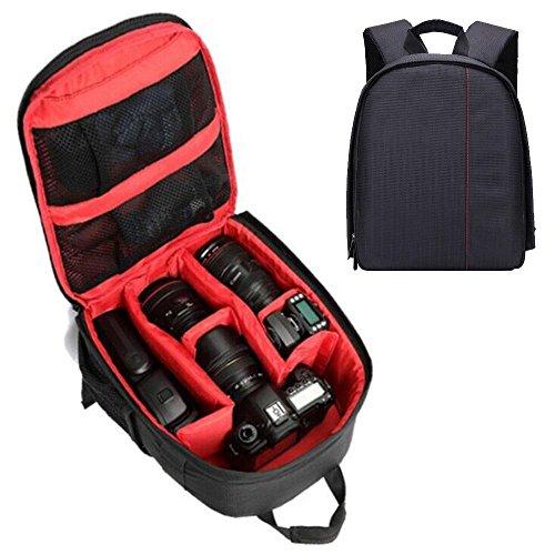 Little DSLR Kamera-Rucksack, pawaca Wasserdichte Reise Fotografie Tasche für Canon, Nikon, Sony und weitere Kameras, 24,9x 15x 33cm, rot (Schaum-boot-einsätze)
