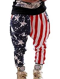 Guandiif Niños y niñas de Pantalones del harem de los pantalones de Las barras y estrellas