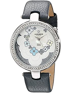 Akribos XXIV Damen Lady Diamond Blume Zifferblatt Swiss Quarz Lederband Armbanduhr