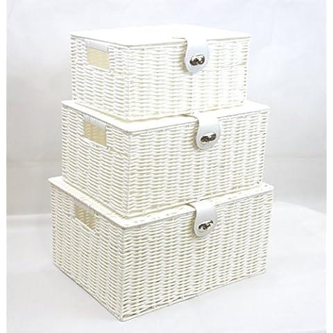 Resina Arpan 3 juego de cesta de almacenaje caja de almacenaje con tapa y candado - blanco