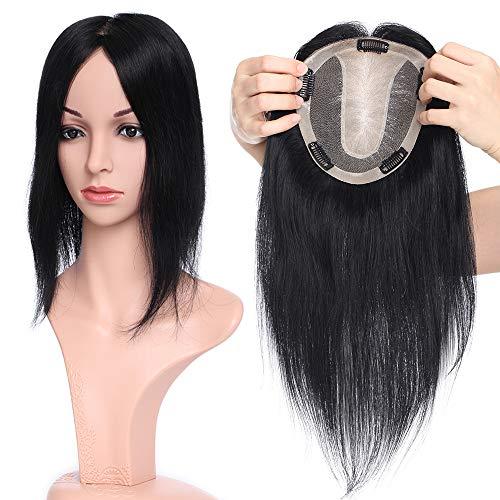 lip in Extensions Echthaar Topper Haarverlängerung Silk Base Toupet Hair Extensions für Frauen 12
