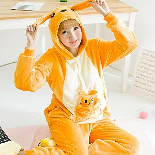 Unisex Adult Pyjamas - Plüsch One Piece Cosplay Tier Kostüm Winter Verdickung Freizeitbekleidung,Känguru,XL