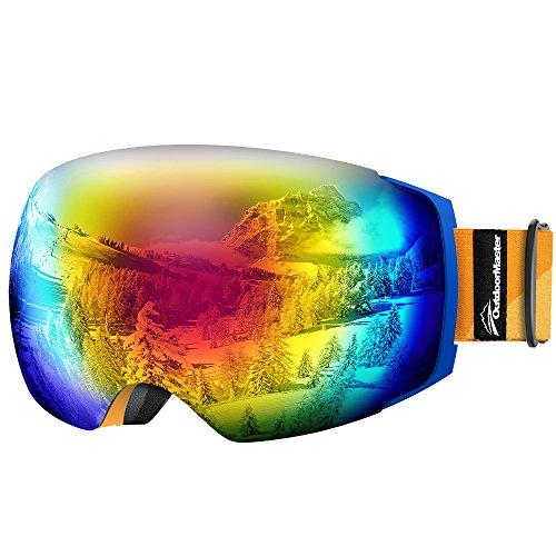 OutdoorMaster Skibrille Pro für Damen&Herren, Snowboardbrille mit magnetisch wechselsystem, OTG Schneebrille, Ski Goggles(Blauer Gurt Orange Riemen VLT 15% Graue Gläser mit REVO Red&Schutzhülle)