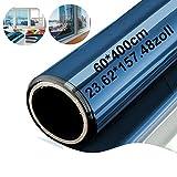 Xianan Fensterfolie Sonnenschutzfolie 60*400cm/23.62*157.48zoll Verspiegelte für Fenster, Sichtschutz und Hitzeschutz Sichtschutzfolie, Blau