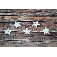 Applikation Sterne aus Bio-Baumwolle, 5 Stück, ca. 2 x 2 cm, Bügelbild, Aufnäher, Patch Aufbügeln, Mädchen, Junge, blau hellblau Punkte, Sterne