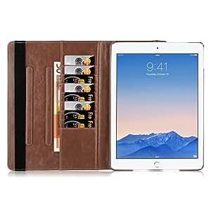 JAMMYLIZARD | Retro Ledertasche für [ iPad 4 (mit Retina-Display), iPad 3 und iPad 2 ] 360 Grad rotierende und drehbare Hülle, BRAUN
